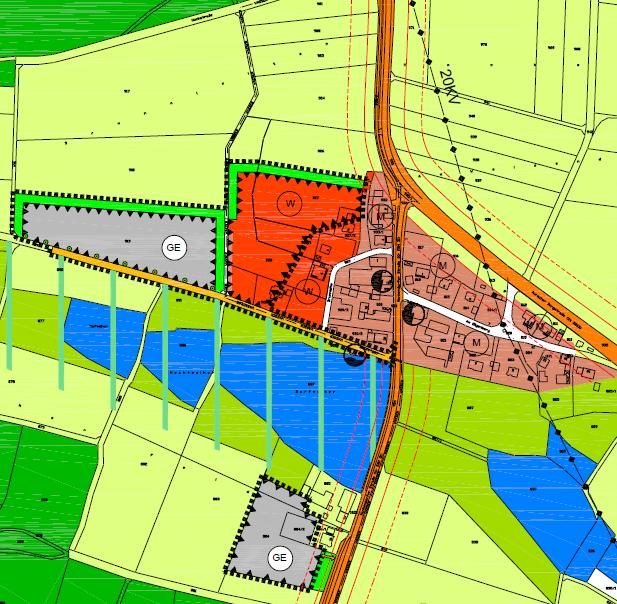 Der neue Bebauungsplan für Nankendorf. Rot gekennzeichnet sind das künftige Wohngebiet (W) und grau die Gewerbeflächen (GE) für die Betriebe Bucher und Gumbrecht.