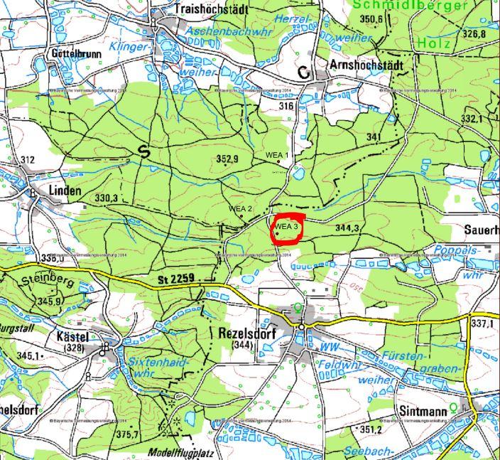 Rot markiert ist auf diesem Kartenausschnitt des Windrads auf dem Gelände der Gemeinde Weisendorf bei Rezelsdorf. Die beiden anderen Anlagen liegen bereits im Gebiet des Landkreises Neustadt/Aisch.