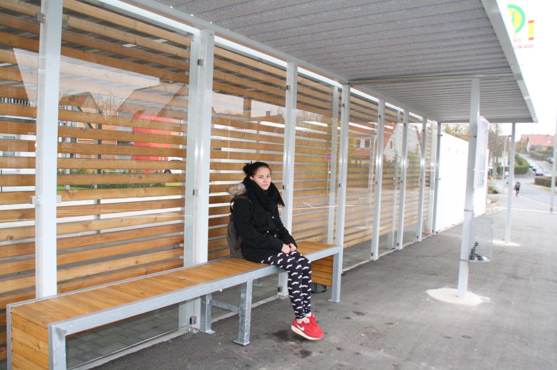 Geplant waren im Buswartehäuschen Drahtsessel. Stattdessen steht dort eine Bank mit 55 Zentimeter Sitzhöhe.