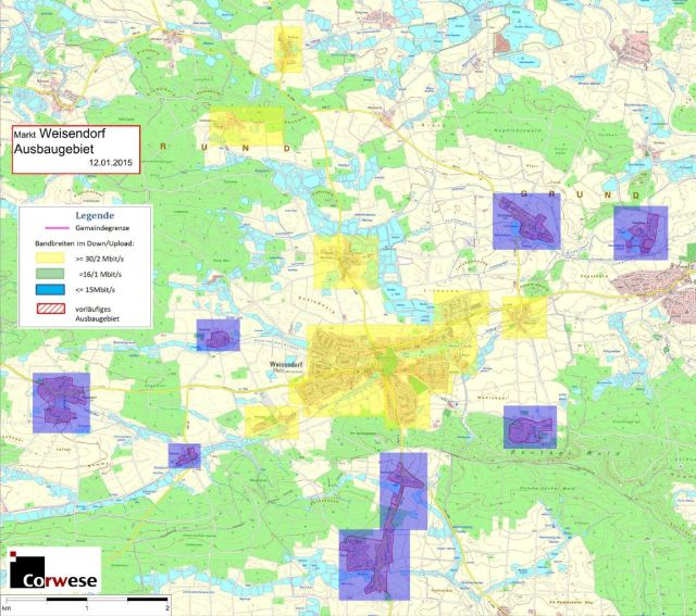 Die gelb eingefärbten Teile der Marktgemeinde (Kernort mit den Ortsteilen Mitteldorf, Reinersdorf und Oberlindach) werden von der Telekom