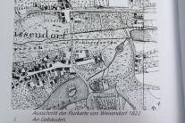 Ausschnitt aus der Flurkarte Weisendorf des Jahres 1822: Westlich der Barockgarten, daneben der Englische Garten, drunter gen Süden die Schlosswiese, dann der Park dicht am Schloss, gesäumt von einem Parksaum am heutigen Reuther Weg und Windflügel (Foto: Weisendorfer Bote 1983)