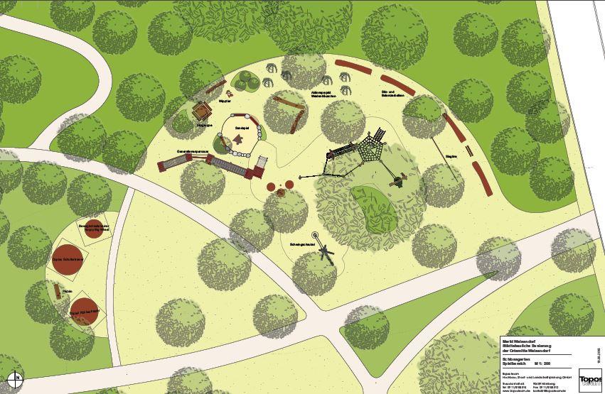 So soll künftig der Spiel- und Sportbereich im Schlossgarten Weisendorf aussehen. (Pläne: Topos Team)