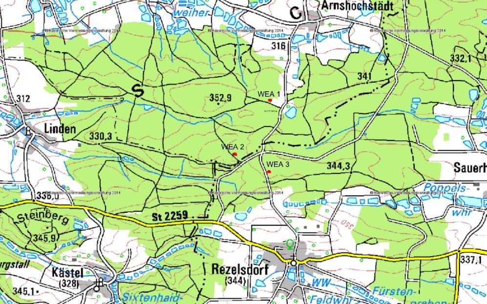 Auf der Karte sind mit rot die drei Standorte für Windräder markiert.