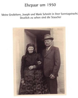 Ehepaartracht 1950: Die Großeltern der Großenseebacherin Cäcilia Schmidt.