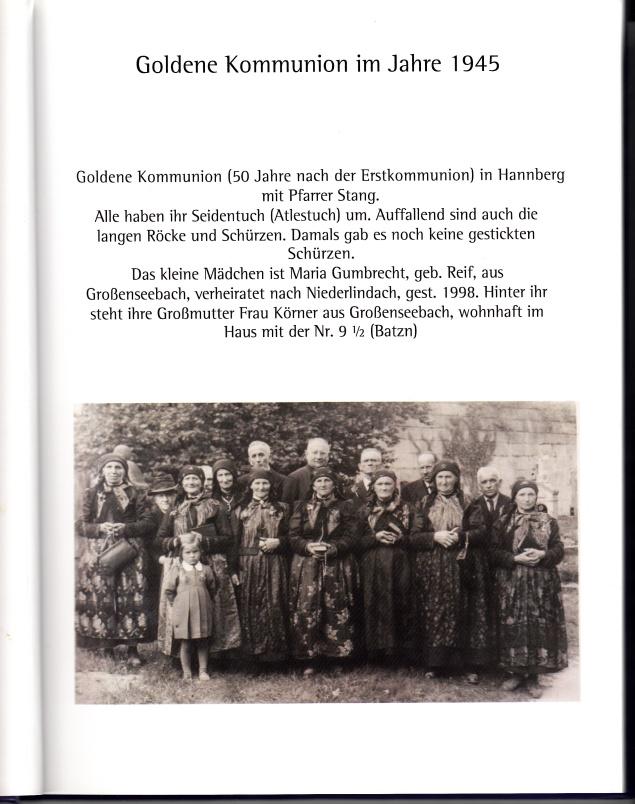 Goldene Kommunion in Hannberg. Repro Karoline Schmidt